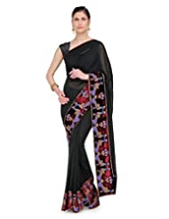 Shubham Designer Hand Embroided Pure Georgette Black Colour Wedding Wear Saree