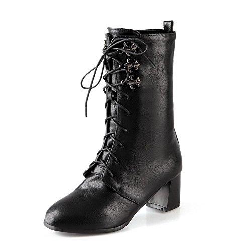 AgooLar Donna Tacco Medio Bassa Altezza Puro Allacciare Stivali con Nodo, Nero, 37