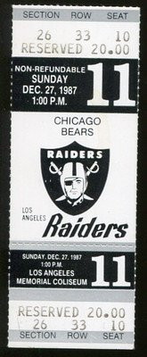 Walter Payton Last Regular Season Game Ticket Bears V Raiders Dec 27 1987