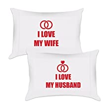 buy We Match! Home - I Love My Wife & I Love My Husband (Rings) - Premium Brushed Microfiber Matching Couple Pillowcases (White, Standard)
