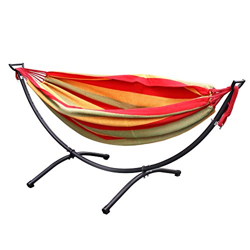 Zeny Portable Hammock Frame + Double Hammock Space Saving Outdoor Double Hammock with Space-Saving Steel Stand (Red)