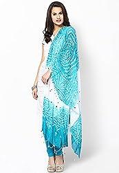 Soundarya Ethnicwear Aqua Cotton Bandhej Handwork Dupatta for Women (3031)