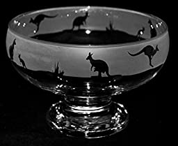 Kangaroo Frieze - boxed Footed Glass Bowl with a Kangaroo design