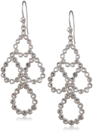 Lauren Harper Collection Milky Way 18k White Gold and Rose Cut Champagne Diamond Pear Earrings