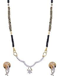 Jewelstone 22 K Gold & Rhodium Plated American Diamond Mangalsutra Set With Earrings & Triple Black Beaded Chain - B01FM9UNH8