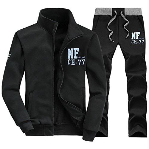walk-leader da uomo con stampa Zip Up giacca e pantaloni casual tute sportive Set Black XL