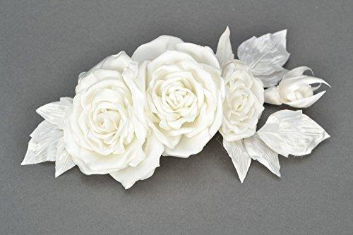 Accessoire de mariage roses blanches fait main