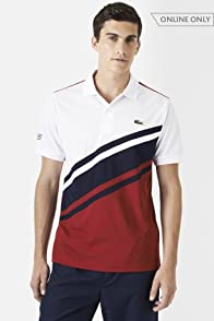 Short Sleeve Ultra Dry Diagonal Stripe Color Block Polo