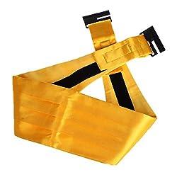 DIB7E01J Gold Solid Woven Microfiber Whole Sale For Marriage Mens Cummerbund 1 Pack By Dan Smith