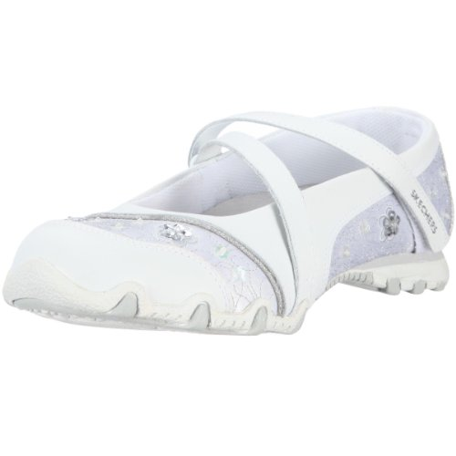 Skechers Girl's Bikers Fauna Smooth Girl's Ballerina White (WHT) UK 2
