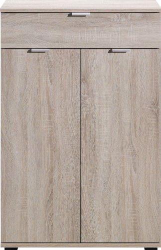 Schuhkommode in Eiche sonoma sägerau-Nachbildung, für vier Paar Stiefel pro Seitenfach, Maße: B/H/T ca. 72/108/37 cm