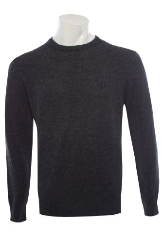Henri Lloyd Mens Charcoal Grey Crew Neck Lambswool Jumper Sweater Top