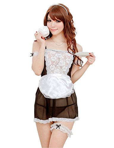 Spicy girl Sexy Maid Costume Lace Visible Bodysuit Bare Buttocks Lingerie Set WWA-171