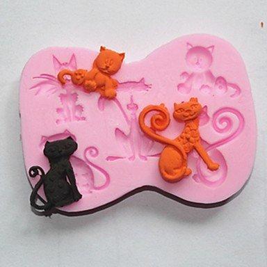 TTOMI ustensiles de cuisson silicone moules beau chat de cuisson pour gâteau au chocolat gelée (couleurs aléatoires)