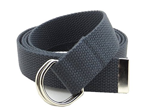 "Thin Web Belt Double D-Ring Buckle 1.25"" Wide with Metal Tip Solid Color (M-Dark Gray)"