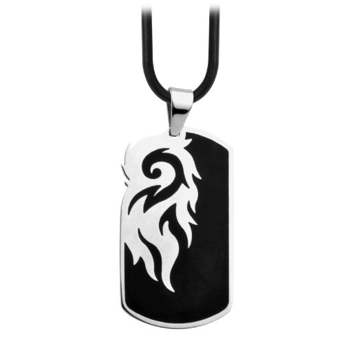 Men's Stainless Steel Dog Tag Pendant with Black Plating (Pendant Only)