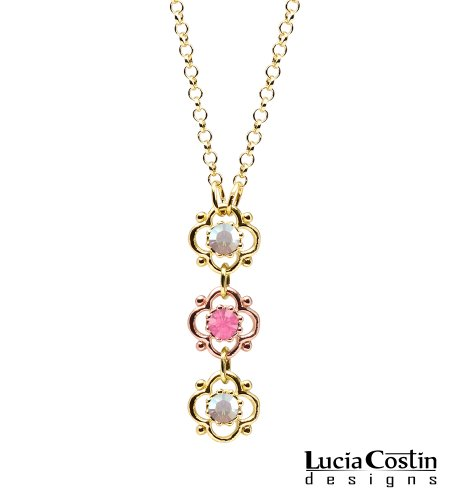 14K Yellow and Pink Gold Plated over .925 Sterling Silver Flower Pendant by Lucia Costin with 3 Lovely Flowers, Dots, Pink and White Swarovski Crystals; Handmade in USA