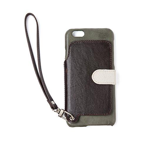 RAKUNI (ラクニ) iPhone 6/6s用 本革 背面ポケット 財布型 ストラップ付 レザーケース(スタンド機能)(iPhone6/6s, アマゾン, 緑&濃茶)