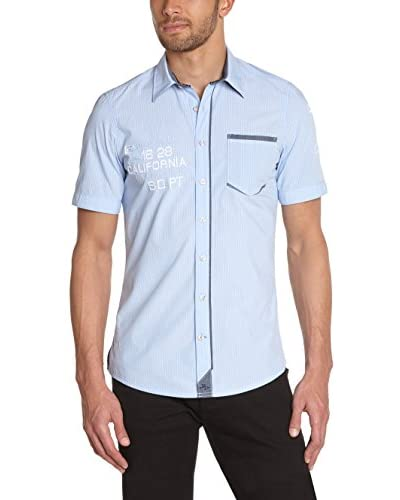 Tom Tailor Camicia Uomo [Blu Chiaro/Arancione]