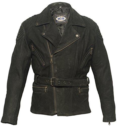 Mediamate Motorrad Lederjacke in nubuk Leder, Rocker Jacke, Bikerjacke, Chopperjacke (XS)