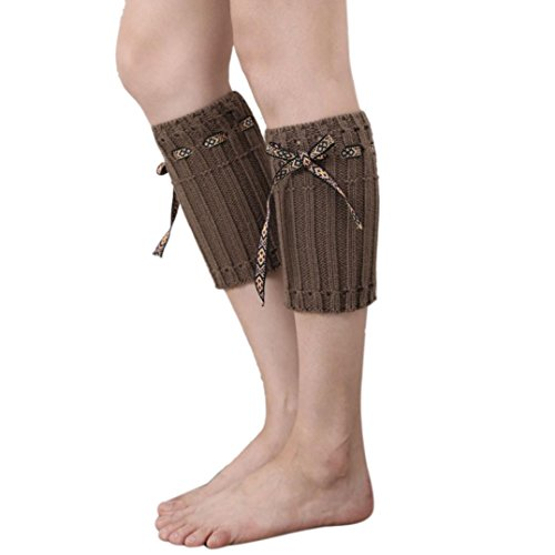 Tenworld Women Winter Bohemia Topper Cuff Boot Socks Knit Leg Warmers (Khaki) (Plush Boot Liner compare prices)