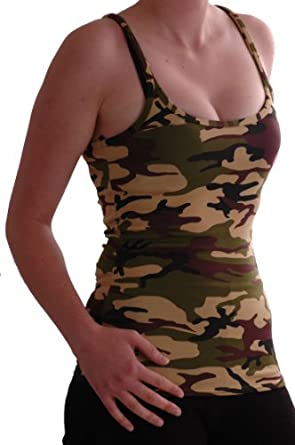 EyeCatch - Jane Racer Back Vest Army Style Camouflage Vest Top Size 8
