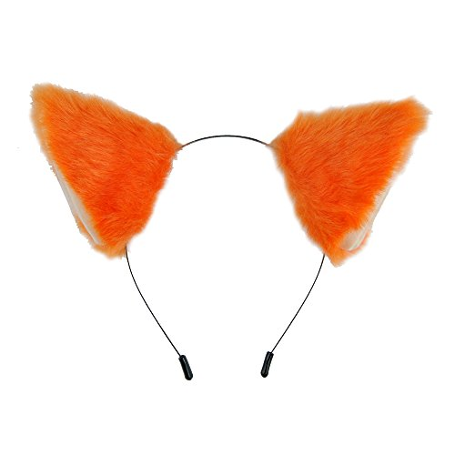 Yiding Cat Fox Fur Ears Headband Anime Party Costume Orange with Beige Inside