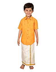 Thangamagan Baby Boy's Shirt/Dhoty Regular Fit(Yellow,Age : 2 to 3 Years)