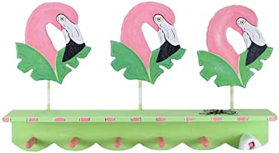 Young's Inc 22527 Wood Flamingos Wall Hooks, 30-Inch
