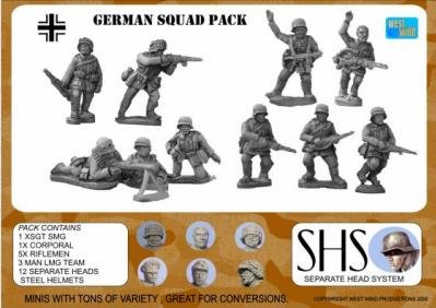 Separate Head System (WWII Miniatures 28mm): German Infantry Squad 1944