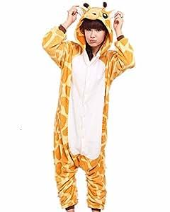 Samgu-Giraffe animal Pyjama Cospaly Party Fleece Costume Deguisement Adulte Unisexe (L(hauteur:170-180cm))