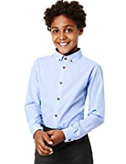 Autograph Pure Cotton Button-Down Collar Plain Shirt