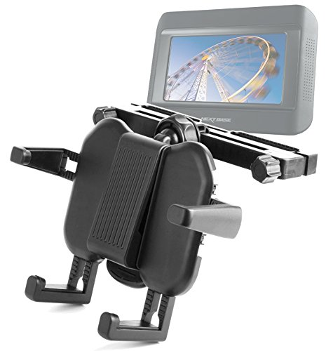 Duragadget Attachable Travel Headrest Mount With Extendable Arms For Nextbase Click & Go Click 7 Lite Duo Twin Screen Portable Dvd Player