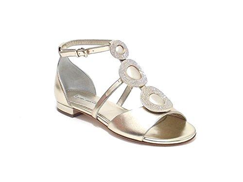Luciano Barachini scarpa donna, modello sandalo gioiello 6203, in pelle laminata, colore oro
