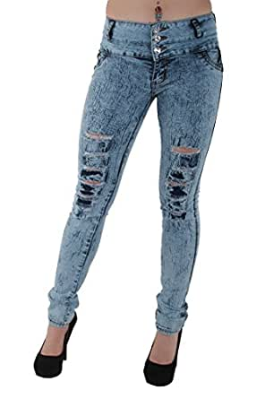DJ1563 - Mid Waist, Colombian Design, Stretch Butt Lift, Ripped Skinny Jeans in Washed Blue Size 5