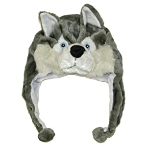 Cute Animal Hat- Plush Husky Timber Wolf Animal Winter Hat
