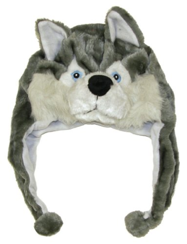 Cute Animal Hat- Plush Husky Timber Wolf Animal Winter Hat - 1