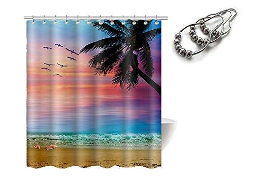 "Gwein Beautiful Natural Scenery Seagull Palm Tree Beach Sunrise Bathroom Mildew Resistant Fabric Shower Curtain Waterproof/Water-Repellent & Antibacterial Shower Room Decor Shower Curtains 66"" x 72"""