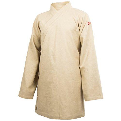 wu designs Leinen Taiji Anzug Diagonaler Kragen - Taiji Shirt - Tai Chi - Gong Fu - Wushu, beige, 195