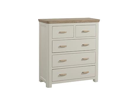 Biselado pintado sólido roble 2sobre 3del pecho, pecho de cajones–muebles de dormitorio de roble pintado