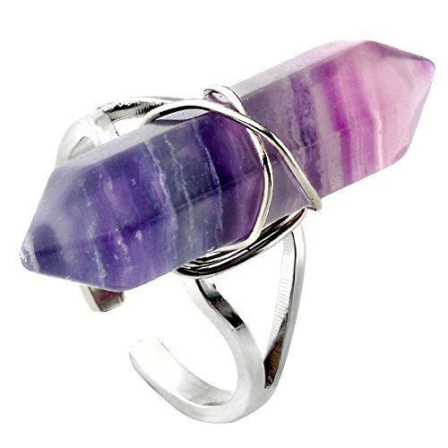 JOVIVI Jewelry Gemstone Hexagon Beads Healing Point Chakra Good luck Finger Ring --Adjustable Size (Fluorite Stone) (Galaxy Ring compare prices)