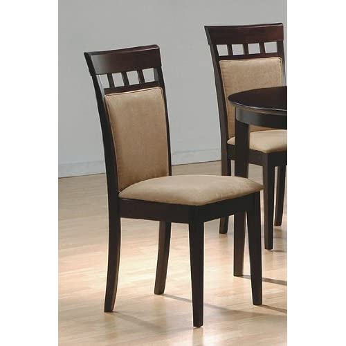 Set Of 2 Contemporary Style Cappuccino Finish Dining Chairs Di