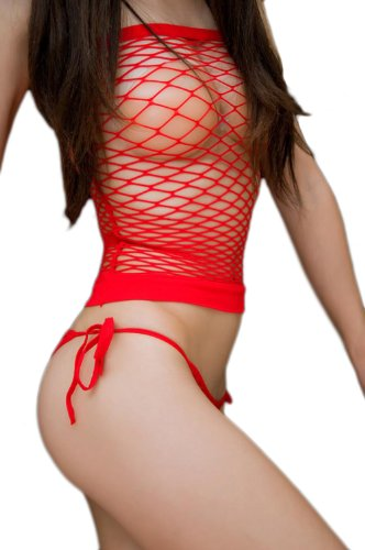 Blancho SE-208 Red Sexy Fishnet Halter 2PC Stylish - Red - Medium Deals