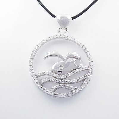 Stylish 925 Sterling Silver Capricorn Pendant with Cubic Zircon Inlay