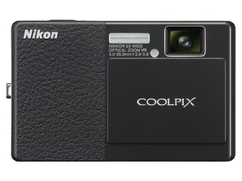 Nikon Coolpix S70 12.1MP Digital Camera with 3.5-inch OLED Touch Screen and 5x Wide Angle Optical Vibration Reduction (VR) Zoom (Black & Black)