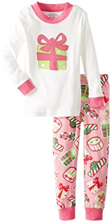 Sara's Prints Little Girls'  Long John Pajama, Presents/Presents Applique, 3
