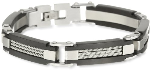 Men'S Stainless Steel Two Tone Cable Wire Bracelet