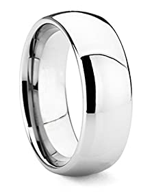 buy King Will 8Mm Men'S Classic High Polished Comfort Fit Domed Tungsten Metal Ring Wedding Band(8.5)