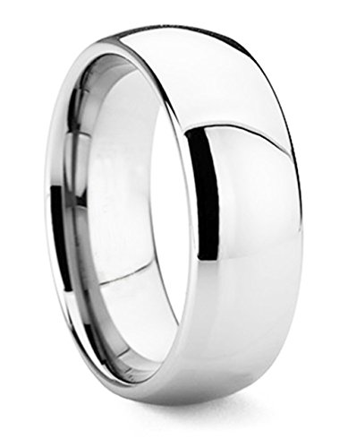 King Will Men's 8mm High Polished Comfort Fit Domed Tungsten Carbide Ring Wedding Band(9.5)