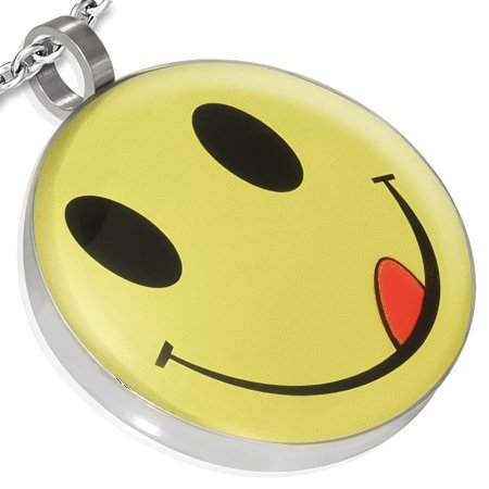 P190 Stainless Steel Yummy Smiley/ Emoticon Circle Pendant and 20